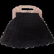 Shell Crochet Fan Purse with Peacock in Handle - b183