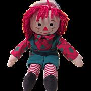 Green Overalls Raggedy Andy Rag Doll = b185