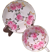 Royal Chelsea Pink Roses and Gold Leaf Tea Cup and saucer - b186