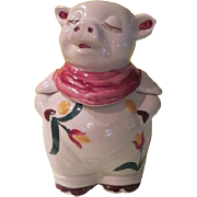 SALE PENDING Shawnee Red Bandanna Smiley the Pig with Tulip Trim Cookie Jar - g