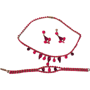 Lady in Red Necklace, Bracelet and Screw Back Earrings - free shipping