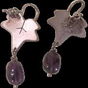 Grape Leaf Sterling with Amethyst Drop J-hook Earrings - Free Shipping