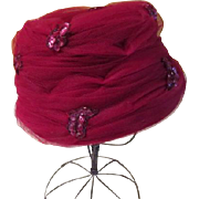 Beehive Burgundy Hat with Net and Sequins
