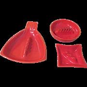 Mid-century Orange Red Wing Ashtrays - b189
