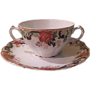 John Maddock & Sons Double Handle Cream soup and Saucer - spn