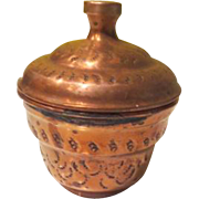 Copper Covered Sugar Bowl Made in Israel - b190