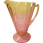 Jeannette Glass Pink Floral ''Poinsettia'' Cone Pitcher - b182