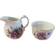 Viceroy China Violets Creamer and sugar Bowl - nsp