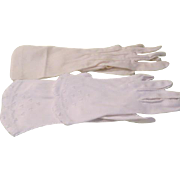 Semi-Sheer Above the Wrist and Beaded to the Wrist Gloves - b190