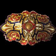 Brilliant Blue and Rec Champleve' Enamel Art Nouveau Belt Buckle - Free shipping