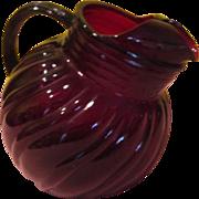 Anchor Hocking Swirl Ruby Red Ball Tilt Pitcher - b198