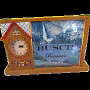 Vintage Busch Bavarian Beer Advertising Sign & Clock