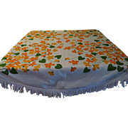 Fringed Orange Print Round Tablecloth - l9