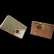 Swank-y Red Stone Cufflink - Free shipping