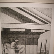 SALE Phidias at Work on the Parthenon Etching from Original Oil by W H W Bicknell