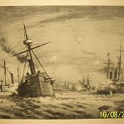 SALE The Battle of Manila Bay, Original Etching by Chas. A. Vanderhoof