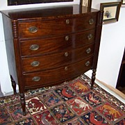 REDUCED Magnificent Period Signed Boston Mahogany Sheraton Bow Front Chest of Drawers 1810