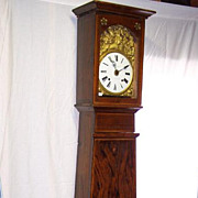 SOLD Early French Morbier Faux Grained Hand Painted Tall Case Clock Ca. 1790