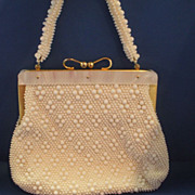 SOLD White Plastic Caviar Bead Purse Mother of Pearl Lucite Frame Hong Kong - Red Tag Sale Ite