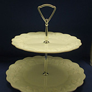 SOLD Westmoreland Paneled Grape Milk Glass Two Tier Tidbit Tray