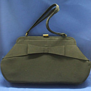 SOLD Black Bow Front Rayon Evening Bag Large