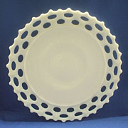 "SOLD Westmoreland Doric Lace Edge Milk Glass 11"" Sandwich Plate - Red Tag Sale Item"