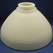 SOLD Corning Milk Glass Torchiere Lamp Shade Waffle Block Wide