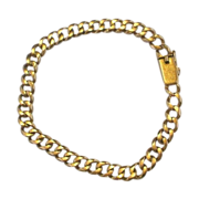 18K Yellow Gold Curb Chain Link Heavy Bracelet