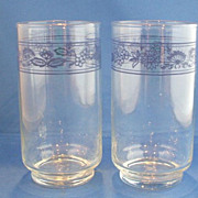 Libbey Old Towne Blue Onion Glasses Tumblers Pair