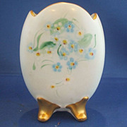 Broken Egg Vase Hand Painted Forget Me Nots Bavaria Porcelain