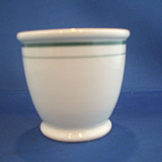 Syracuse Footed Bouillon Cup & Saucer Green Stripe Restaurant Ware