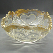 SOLD Tarentum Heart With Thumbprint Small Square Bowl Gold Trim