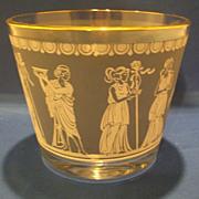 Jeannette Glass Hellenic Blue Ice Bucket Greek Scenes