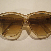 Sarah Coventry Lucite Oversize Sunglasses Spatter Pattern