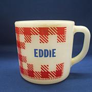 SOLD Eddie Red Check Gingham Plaid Milk Glass Mug Westfield Federal