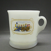REDUCED Avon Train Steam Engine Decorated Milk Glass Mug