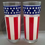 SOLD Libbey Stars & Stripes American Flag Tall Lemonade Tumblers