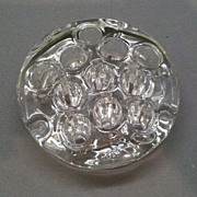 """SOLD Flower Frog 11 hole 3"""" Round Clear Glass"""