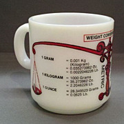 SOLD Hazel Atlas Metric System Conversion Mug Red Decorated Milk Glass