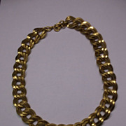 Monet Double Link Chain Gold Tone Choker Necklace