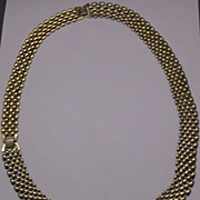 Gold Tone Panther Chain Necklace & Bracelet Set