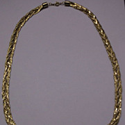 Gold Tone Braided Chain Necklace Marked Korea