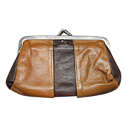 SOLD Roger Gimbel Accessories Leather Coin Purse Kiss Clasp