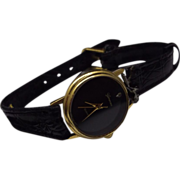 REDUCED Vintage Genevex Diamond Black Face Dress Watch