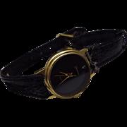 REDUCED Vintage Genevex Diamond Black Face Dress Watch