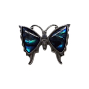 Pretty Lucite Faux Abalone Blue Green Butterfly Pin