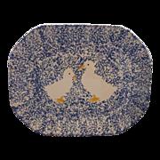 SOLD Japan Spongeware Blue White Goose Duck Platter - Red Tag Sale Item