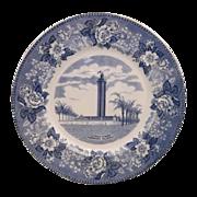 SOLD Florida Citrus Tower Blue Transferware Staffordshire England Alfred Meakin Souvenir Plate