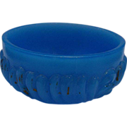 REDUCED Blue Milk Glass Dresser Jar Base Small