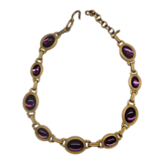 REDUCED Monet Purple Oval Cab Gold Tone Link Necklace 1980s Chunky